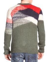 DIESEL | Green Colour Block Sweater for Men | Lyst