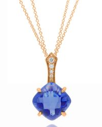 Frederic Sage | 18k Pink Gold Blue Topaz/diamond Pendant Necklace | Lyst