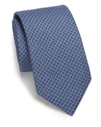Saks Fifth Avenue | Blue Neat Print Silk & Wool Tie for Men | Lyst