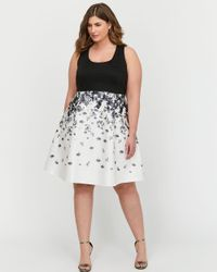 Addition Elle - Black Michel Studio Fit & Flare Floral Dress - Lyst