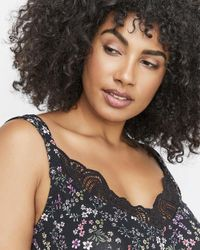 Addition Elle - Black Michel Studio Crochet Lace Neckline Printed Camisole - Lyst