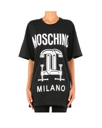 Moschino | Black Interlocking C-clamp Print T-shirt | Lyst