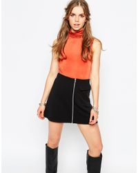 First & I | Orange Sleeveless Roll Neck Top | Lyst