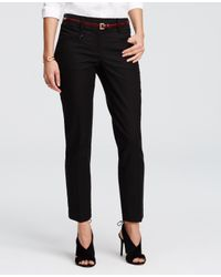 Ann Taylor | Black Kate Cotton Twill Skinny Ankle Pants | Lyst