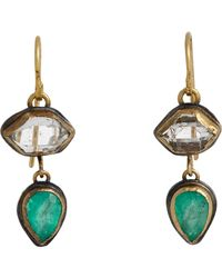 Judy Geib | Metallic Colombian Emerald & Herkimer Diamond Double-drop Earrings | Lyst