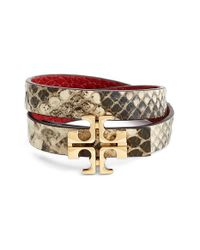 Tory Burch | Multicolor 'Split T' Reversible Leather Wrap Bracelet - Natural/ Dark Red/ Shiny Gold | Lyst