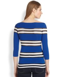 Bailey 44 - Blue Perforated Striped Stretch Jersey Top - Lyst