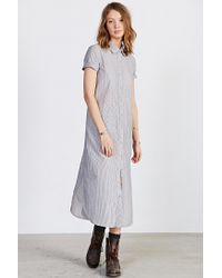 BDG - Gray Voile Maxi Shirt Dress - Lyst