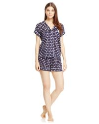 Tommy Hilfiger | Blue Notch Collar Top And Shorts Set | Lyst