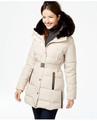 Ivanka Trump | Natural Faux-fur-trim Belted Down Puffer Coat | Lyst