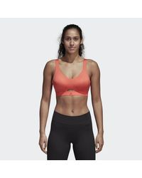 5673bb9957ae5 Lyst - adidas Stronger For It Soft Printed Bra in Red
