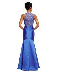 Adrianna Papell | Blue Mikado Mermaid Dress With Sheer Lace Back | Lyst
