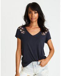 f8d28e7b6a6 American Eagle Ae Soft & Sexy V-neck Favorite T-shirt in Black - Lyst