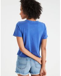 American Eagle - Blue Peanuts Nyc Shrunken Graphic T-shirt - Lyst