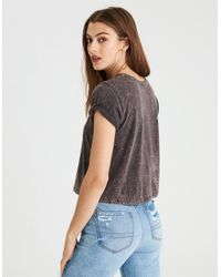 American Eagle - Black Ae Floral Graphic Tee - Lyst