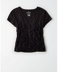 American Eagle - Black Ae Soft & Sexy Cinch Front Dolman Tee - Lyst