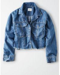 American Eagle Blue Ae Cropped Button-down Shirt