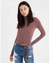 909794d3ab4 American Eagle. Women's Red Ae Soft & Sexy Long Sleeve Mock Neck T-shirt