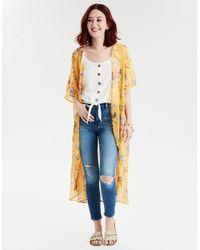 6a0f6373cca7 American Eagle Ae Chiffon Floral Kimono in Metallic - Lyst