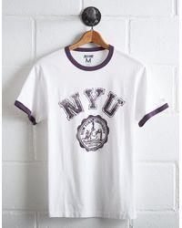 Tailgate White Men's Nyu Violets Ringer T-shirt for men
