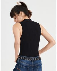 American Eagle - Black Ae Ribbed Mock Neck Bodysuit - Lyst