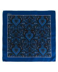 Kiton - Blue Paisley Print Pocket Square for Men - Lyst
