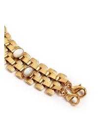 Ela Stone | Metallic Nicole Stone Embellished Block Chain Bracelet | Lyst