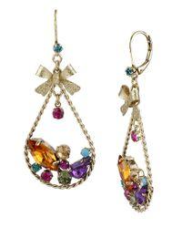 Betsey Johnson - Multicolor Crystal Cluster Oval Drop Earrings - Lyst