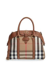 Burberry | Brown 'medium Milverton - House Check' Satchel | Lyst