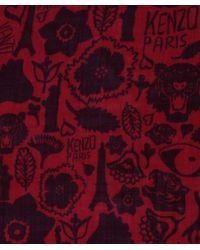 KENZO | Orange Icon Wool Scarf | Lyst