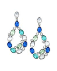 Swarovski - Palladiumplated Blue Crystal Drop Earrings - Lyst