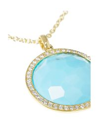 Ippolita - Blue Lollipop 18karat Gold Turquoise and Diamond Necklace - Lyst