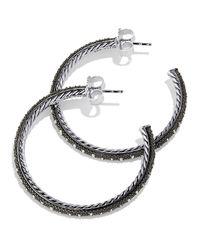 David Yurman - Metallic Midnight Melange Large Hoop Earrings With Diamonds - Lyst