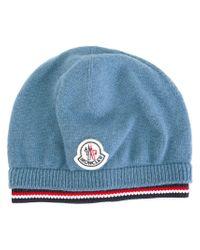 Moncler - Blue Logo Patch Beanie - Lyst