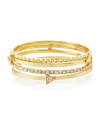 Lydell NYC | Metallic Pyramid Stacked Crystal Cuff Bracelet | Lyst