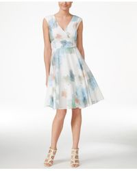 Calvin Klein Floral Print Cap Sleeve Fit Amp Flare Dress In
