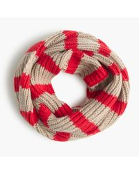 J.Crew | Red Ribbed Infinity Scarf In Stripe | Lyst
