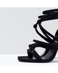 Zara | Black Knotted High-heel Sandals | Lyst