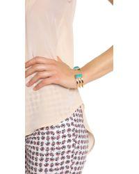 Paige Novick - Isabelle Collection Stone Inset Cuff Bracelet Shiny Goldturq Blue - Lyst