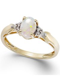 Macy's | Metallic Opal (2/5 Ct. T.w.) And Diamond Accent Ring In 10k Gold | Lyst