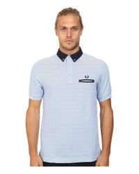 Fred Perry | Blue Woven Trim Pique Shirt for Men | Lyst