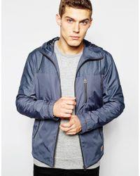 Jack & Jones - Gray Hooded Windbreaker Jacket for Men - Lyst