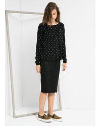 Mango - Black Embossed Polka-Dot Sweater - Lyst