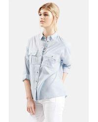 TOPSHOP - Blue Oversize Lightweight Chambray Shirt - Lyst