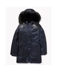 Theory | Blue Fabunni Coat In Bomber Tech | Lyst