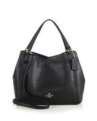 COACH - Black Edie Pebbled Leather Shoulder Bag - Lyst