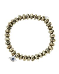 Sydney Evan | Metallic 8Mm Faceted Champagne Pyrite Beaded Bracelet With 14K Yellow Gold/Diamond Small Evil Eye Charm (Made To Order) | Lyst