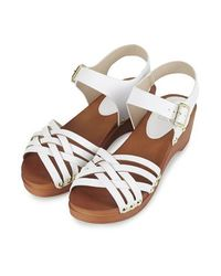 TOPSHOP - White Hanoi Clog Sandals - Lyst