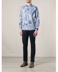 Etro | Black Brocade Print Shirt for Men | Lyst