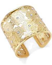 kate spade new york | Metallic Gold-tone Crystal Flower Cuff Bracelet | Lyst